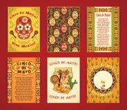 cinco de mayo Stor uppsättning av vektormallar med traditionella Mexi Arkivfoto