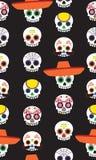 Cinco de Mayo Sugar Skulls Seamless Vector Pattern. Sugar Skull Characters celebrating Cinco de Mayo in a fun, spooky seamless vector pattern repeat. Repeating