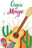 Cinco de Mayo. 5th of May. A festive poster to the Mexican national holiday. Guitar, Maracas, Cacti.  vector illustration