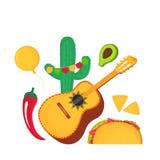 Cinco de Mayo. 5th of May. Guitarron, cactus, chili, taco, nachos, avocado - clipart to national mexican holiday. Cinco de Mayo. 5th of May. Guitarron, cactus royalty free illustration