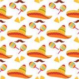 Cinco de Mayo. 5th of May. Mexican sombrero, nachos, mustache and maracas seamless pattern.  vector illustration