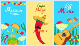 Cinco de Mayo. 5th of May. A set of holiday posters to the Mexican national holiday. Sombrero, cactus, guitarron, maracas,. Traditional food and drink. Funny vector illustration