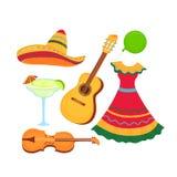 Cinco de Mayo. 5th of May. Sombrero, guitar, violin, margarita. Traditional Mexican clothing and musical instruments.  royalty free illustration