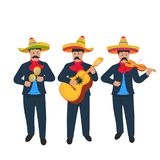 Cinco de Mayo. 5th of May. Street Mexican musicians play the violin, the maracas and the guitar. Music band.  vector illustration