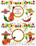 Cinco DE Mayo Twee vliegers, prentbriefkaaren Groen en rode Maracas, trommel, gitaar, rood en groene paprika met een snor stock illustratie