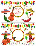 Cinco de Mayo. Two flyers, postcards. Maracas green and red, drum, guitar, red and green pepper with a mustache stock illustration