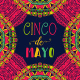 Cinco de mayo. Typography poster with ethnic ornament. Hand drawn vector illustration