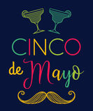 Cinco de mayo. Typography poster with mustache and margarita cocktails. Hand drawn vector illustration Royalty Free Stock Image