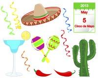 Cinco De Mayo. Uppsättning av feriebeståndsdelar. Royaltyfri Fotografi