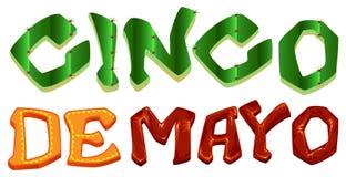 Cinco DE Mayo Van letters voorziende tekst voor groetkaart Royalty-vrije Stock Foto's