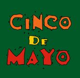 Cinco de Mayo. Vector card. Multi colored congratulatory inscription on a dark green background Royalty Free Stock Images