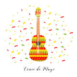 Cinco de Mayo. Vector illustration for greeting card. Multicolored guitar among confetti. Stock Image