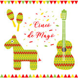 Cinco de Mayo. Vector illustration for greeting card. Multicolored guitar, donkey, maracas and inscription among Royalty Free Stock Images