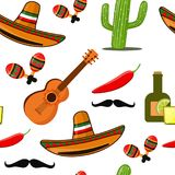 Cinco de Mayo vector seamless pattern. With cactus, chili red pepper, sombrero, guitar, maracas, tequila Stock Photo