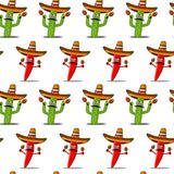 Cinco de Mayo vector seamless pattern. With cactus, chili red pepper, sombrero, maracas Stock Image