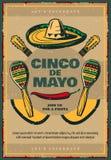 Cinco de Mayo vector sketch retro Mexican poster. Cinco de Mayo Mexican holiday sketch retro poster of sombrero, jalapeno pepper and maracas or guitars. Vector Royalty Free Stock Image
