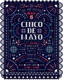 Cinco De Mayo-de viering kondigt affichemalplaatje met Mexicaanse nationale decoratieve ornamenten aan vector illustratie