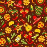 Cinco de Mayo-viering in Mexico, naadloos patroon ond bruin met, voedsel, sambrero, tequila, cactus Vector