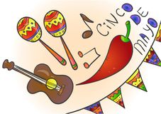 Cinco de Mayo-de viering in Mexico, pictogrammen plaatste, ontwerpelement, vlakke stijl Inzamelingsvoorwerpen voor Cinco de Mayo  vector illustratie