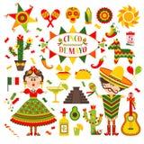 Cinco de Mayo-viering in Mexico, reeks, ontwerppictogrammen Inzamelingsvoorwerpen voor Cinco de Mayo-parade met pinata, voedsel royalty-vrije illustratie