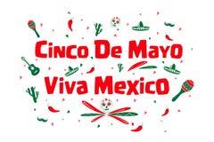 Cinco de Mayo, Viva Mexico ilustración del vector