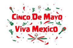 Cinco de Mayo, Viva Mexico. Colorful illustrated text graphics Cinco de Mayo and Viva Mexico with Mexican icons on white