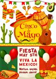 Cinco de Mayo, Viva Mexico fiesta party invitation. Cinco de Mayo and Viva Mexico fiesta party invitation. Mexican holiday traditional food, drink, chili and Royalty Free Stock Images