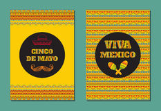 Cinco de mayo. Viva Mexico! Vector set of greeting cards, banners or posters with mexican geometric ornament Stock Photo