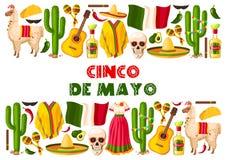 Cinco de Mayo wakacyjny Meksykański wektorowy kartka z pozdrowieniami Obrazy Royalty Free