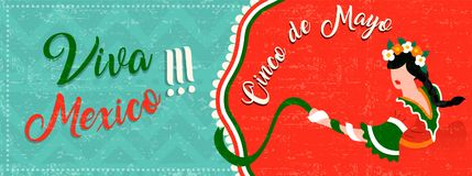 Cinco de mayo web banner with latin woman dancing. Happy Cinco de mayo web banner for traditional mexican party celebration. Special event illustration of latin Stock Image