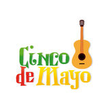 Cinco de mayo. White background with text and a guitar for cinco de mayo celebrations