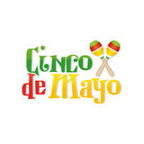 Cinco de mayo. White background with text and maracas for cinco de mayo celebrations