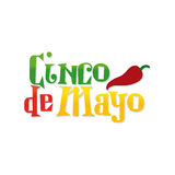 Cinco de mayo. White background with text and pepper for cinco de mayo celebrations