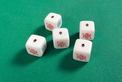 Cinco de una clase en dados del póker Fotografía de archivo libre de regalías