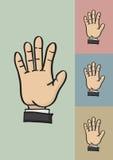 Cinco dedos e ilustração do vetor do gesto de mão cinco da palma olá! Fotografia de Stock