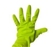 Cinco dedos en guante verde del vinilo fotografía de archivo libre de regalías
