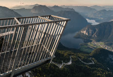 Cinco dedos que veem a plataforma em cumes de Hoher Dachstein Imagem de Stock
