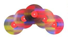 Cinco discos de vinilo coloreados Imagen de archivo