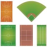 Cinco disposições populares do campo de esporte isolaram-se Fotos de Stock