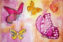 Cinco diversas mariposas en un mundo de fantasía Imagenes de archivo
