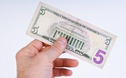 cinco dólares Imagen de archivo