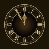 ¡Cinco a doce! Reloj de oro con estilo del vector Foto de archivo