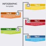 Cinco elementos infographic del diseño de los pasos Plantilla infographic gradual del diseño Fotografía de archivo libre de regalías