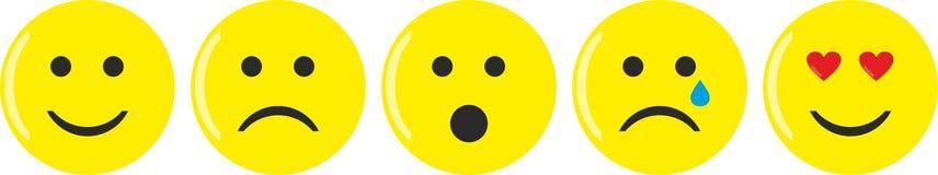 Cinco emoticons amarillos con diversos humores ilustración del vector