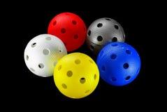 Cinco esferas do floorball isoladas Fotos de Stock Royalty Free