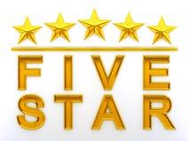 Cinco estrelas Foto de Stock Royalty Free