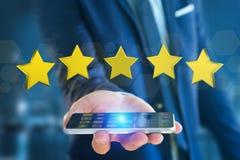 Cinco estrelas amarelas em uma relação futurista - rendição 3d Foto de Stock Royalty Free