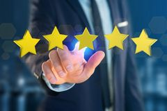 Cinco estrelas amarelas em uma relação futurista - rendição 3d Imagem de Stock