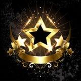 Cinco estrelas com fita dourada Fotos de Stock Royalty Free