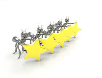 Cinco estrelas com formigas Fotografia de Stock